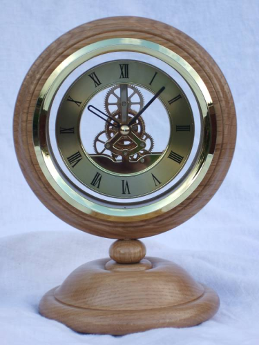 Oak Mantel clock with Skeleton Quartz movement