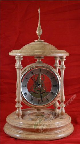 Mantel Skeleton bandstand Oak Clock - Hand Crafted